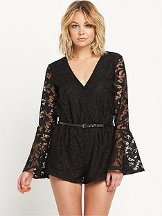 river-island-fluted-sleeve-lace-playsuit