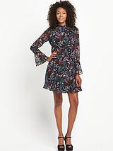 Fluted Sleeve Tea Dress