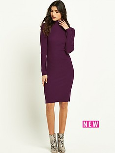 south-skinny-rib-polo-neck-dress