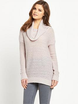 South Brushed Open Stitch Roll Neck Jumper