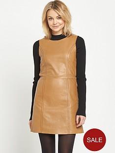 miss-selfridge-contrast-stitch-a-line-leather-dress