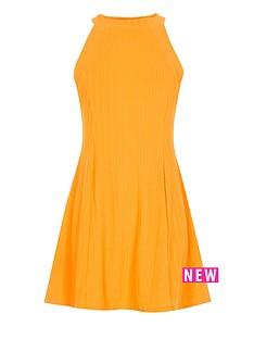 river-island-girls-orange-ribbed-skater-dress