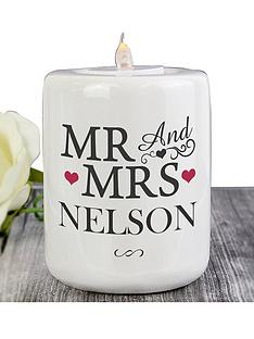 personalised-mr-and-mrs-ceramic-tealight-holder