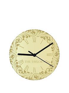personalised-gold-damask-clock