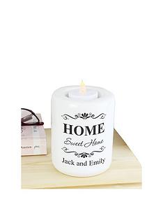 personalised-home-sweet-home-ceramic-tealight-holder