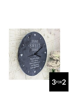 personalised-home-sweet-home-slate-clock