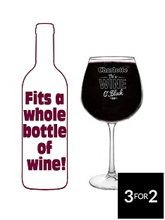 personalised-wine-o039clock-bottle-of-wine-glass