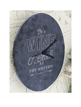personalised-wine-o039clock-slate-clock
