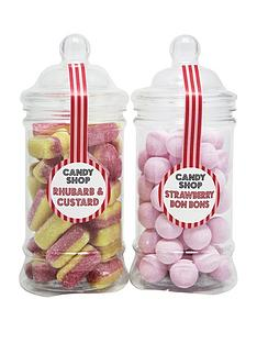 candy-shop-strawberry-bon-bonsnbspand-rhubarb-amp-custard-small-sweet-jars