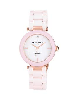 Anne Klein Mineral Crystal White Dial Genuine Diamond Blush Pink Ceramic Bracelet Ladies Watch