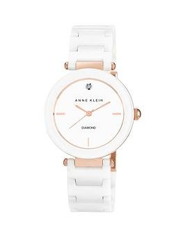 Anne Klein Anne Klein Mineral Crystal White Dial Genuine Diamond White Ceramic Bracelet Ladies Watch
