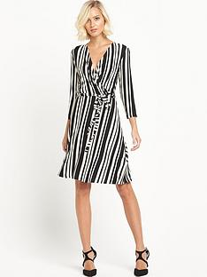 warehouse-stripe-three-quarter-sleeve-wrap-dress