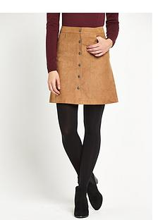 oasis-suedettenbspbutton-through-skirt