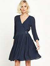 WAREHOUSE WRAP SKATER DRESS