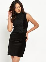 Lace Collar Velvet Dress