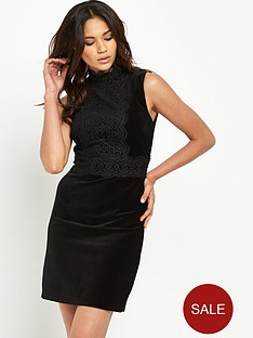 warehouse-lace-collar-velvet-dressnbsp