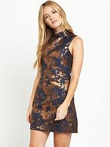 High Neck Jacquard Dress