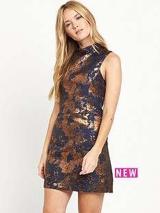 warehouse-high-neck-jacquard-dress