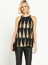 WAREHOUSE FEATHER JACQUARD TOP