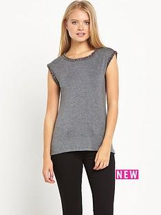 warehouse-embellished-trim-t-shirt
