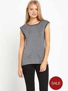 warehouse-embellished-trim-t-shirt