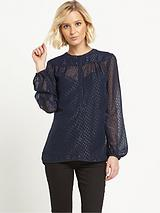 Metallic Jacquard Blouse