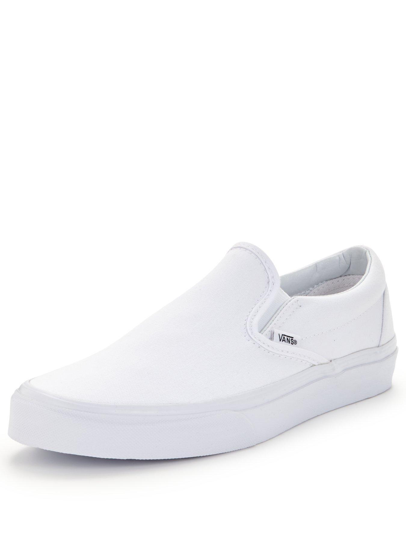 white slip on vans cheap