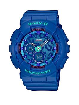 Baby-G Casio Baby G Leopard Face Blue Resin Strap Ladies Watch