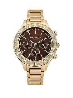 karen-millen-brown-multi-dial-ampnbspgold-tone-stainless-steel-bracelet-ladies-watch