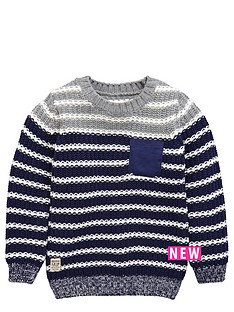 ladybird-boys-stripe-crew-neck-knitted-jumper
