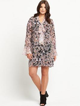So Fabulous Floral Contrast Print Pussy Bow Dress 14-28