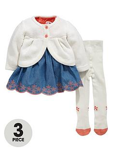 ladybird-baby-girls-chambray-dress-cardigan-and-tights-set-3-piece