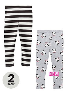 ladybird-girls-panda-and-stripe-leggings-2-pack