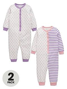 ladybird-girls-spot-and-stripe-sleepsuitsnbsp2-pack