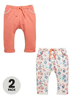 ladybird-baby-girls-floral-and-plain-joggers-2-pack