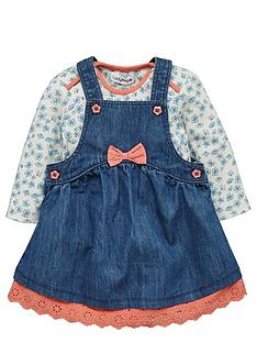 ladybird-baby-girls-denim-pinafore-and-floral-bodysuit-set-2-piece