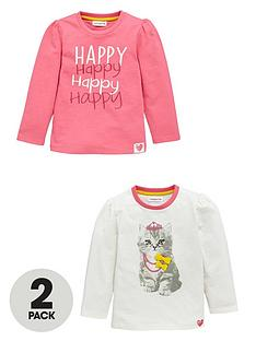 ladybird-girls-happy-cat-long-sleeve-tops-2-pack