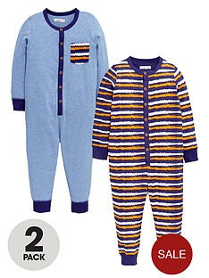 ladybird-boys-fun-and-bright-marlnbspsleepsuits-with-applique-pocket-2-pack