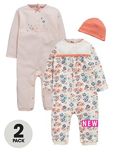ladybird-baby-girls-2pk-floral-amp-bunny-rompers-amp-hat