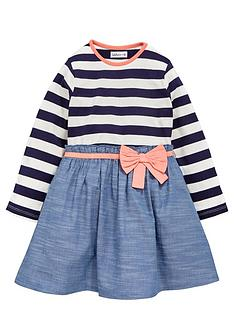 ladybird-girls-stripe-and-woven-chambraynbspdress