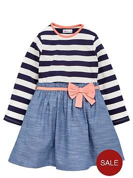 ladybird-girls-stripe-and-woven-chambraynbspdress