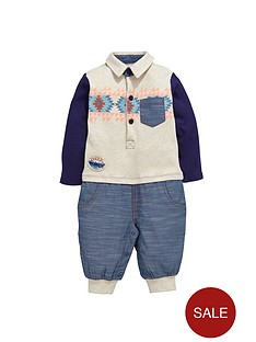 ladybird-baby-boys-aztec-top-and-chambray-trousers-romper