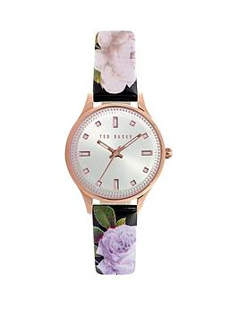 Ted Baker Ted Baker White Mother Of Pearl Dial Stainless Steel Case Black Floral Patent Strap Ladies Watch