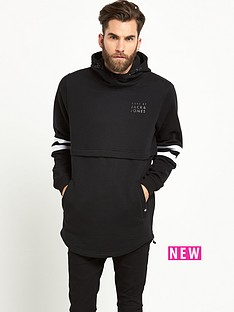 jack-jones-remix-long-line-mens-hoodie-ndash-black