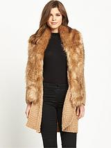 Boucle Faux Fur Trim Coatigan