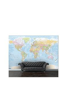 1wall-blue-world-map-mural