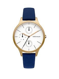 karen-millen-karen-millen-multifunction-white-dial-blue-leather-strap-ladies-watch
