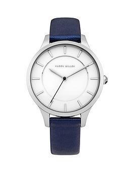 Karen Millen Karen Millen White Dial Blue Leather Strap Ladies Watch