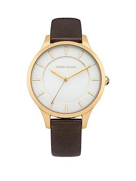 Karen Millen Karen Millen White Dial Brown Leather Strap Ladies Watch