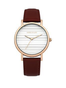 Karen Millen Karen Millen White Dial Purple Leather Strap Watch